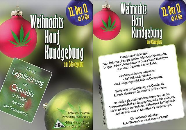 Grafik Flyer zum Hanfinfostand in München am 22.12.2012